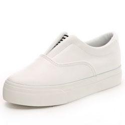 Женские белые низкие кожаные кеды RenBen 8266-2