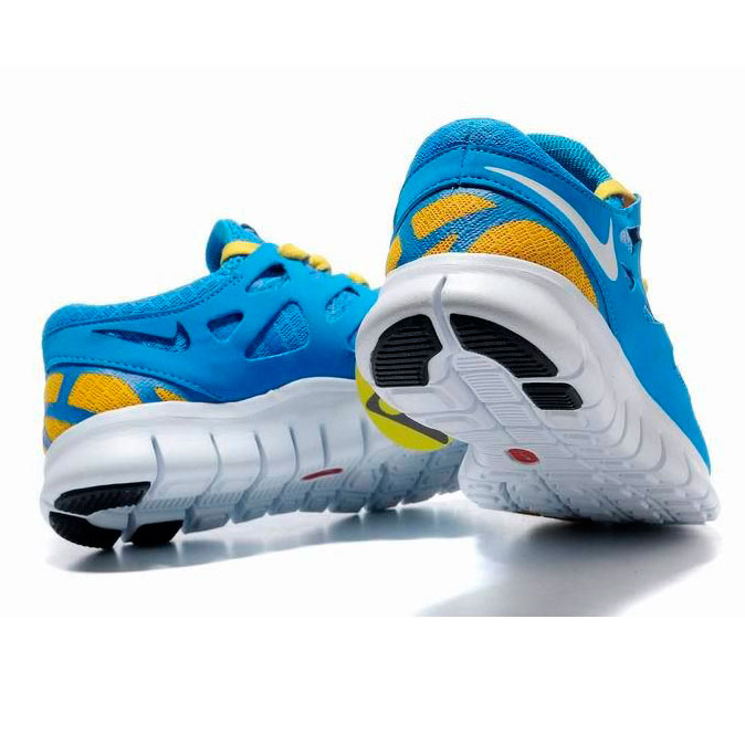 фото bottom Женские кроссовкидля бега Nike Free Run 2 Найк Фри Ран, сине-желтые bottom