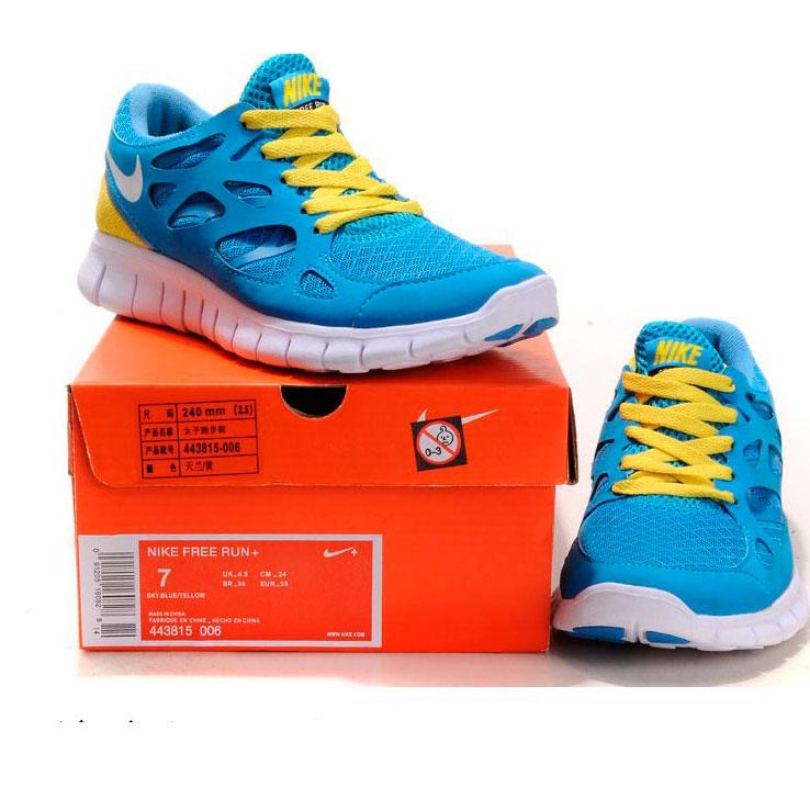 фото front Женские кроссовкидля бега Nike Free Run 2 Найк Фри Ран, сине-желтые front