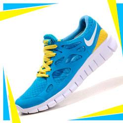 Женские кроссовкидля бега Nike Free Run 2 Найк Фри Ран, сине-желтые