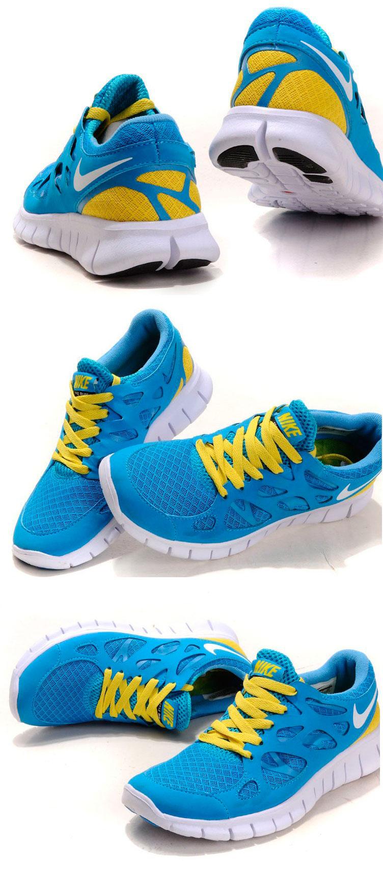 большое фото №6 Женские кроссовкидля бега Nike Free Run 2 Найк Фри Ран, сине-желтые