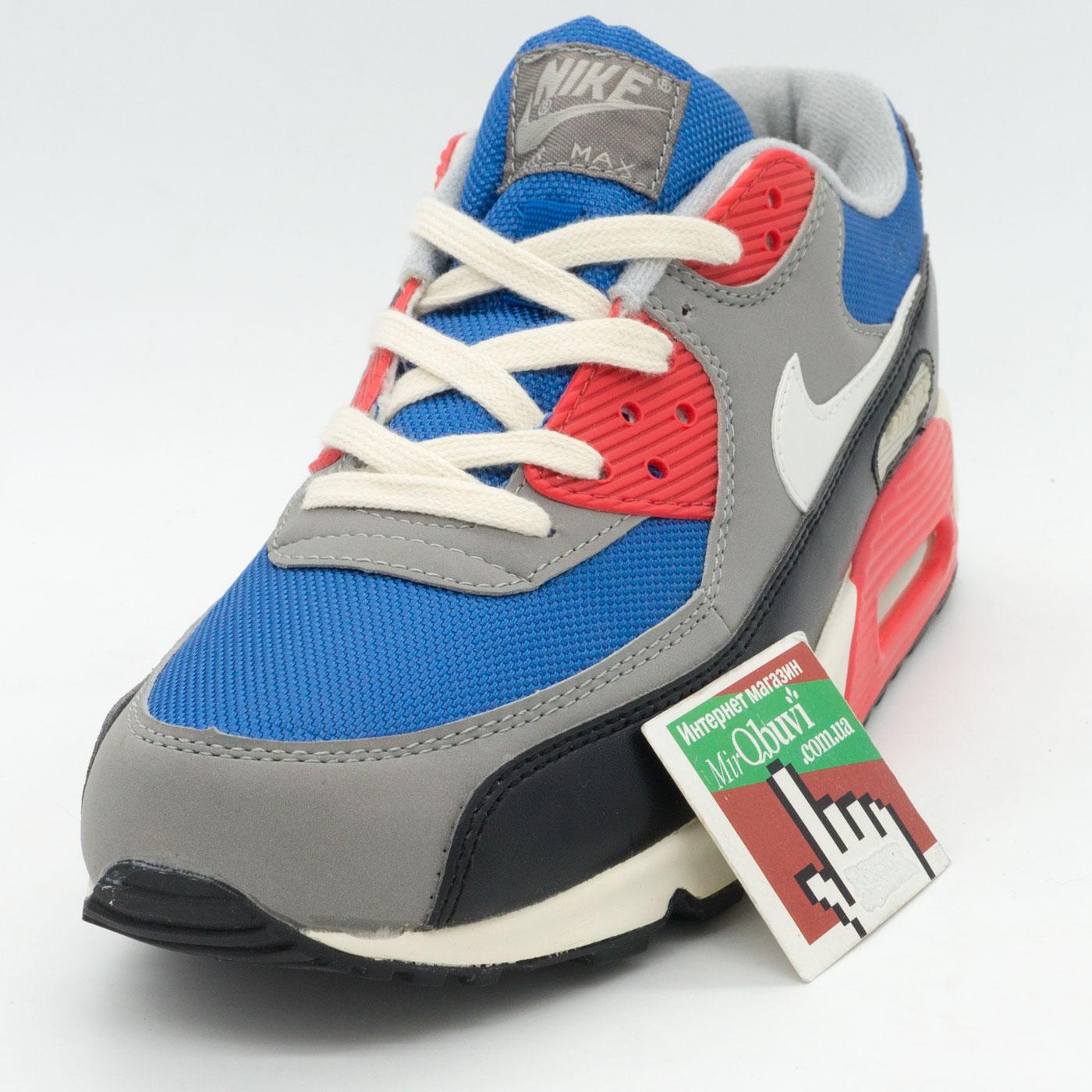фото back Мужские кроссовки Nike Air Max 90 синие с красным back