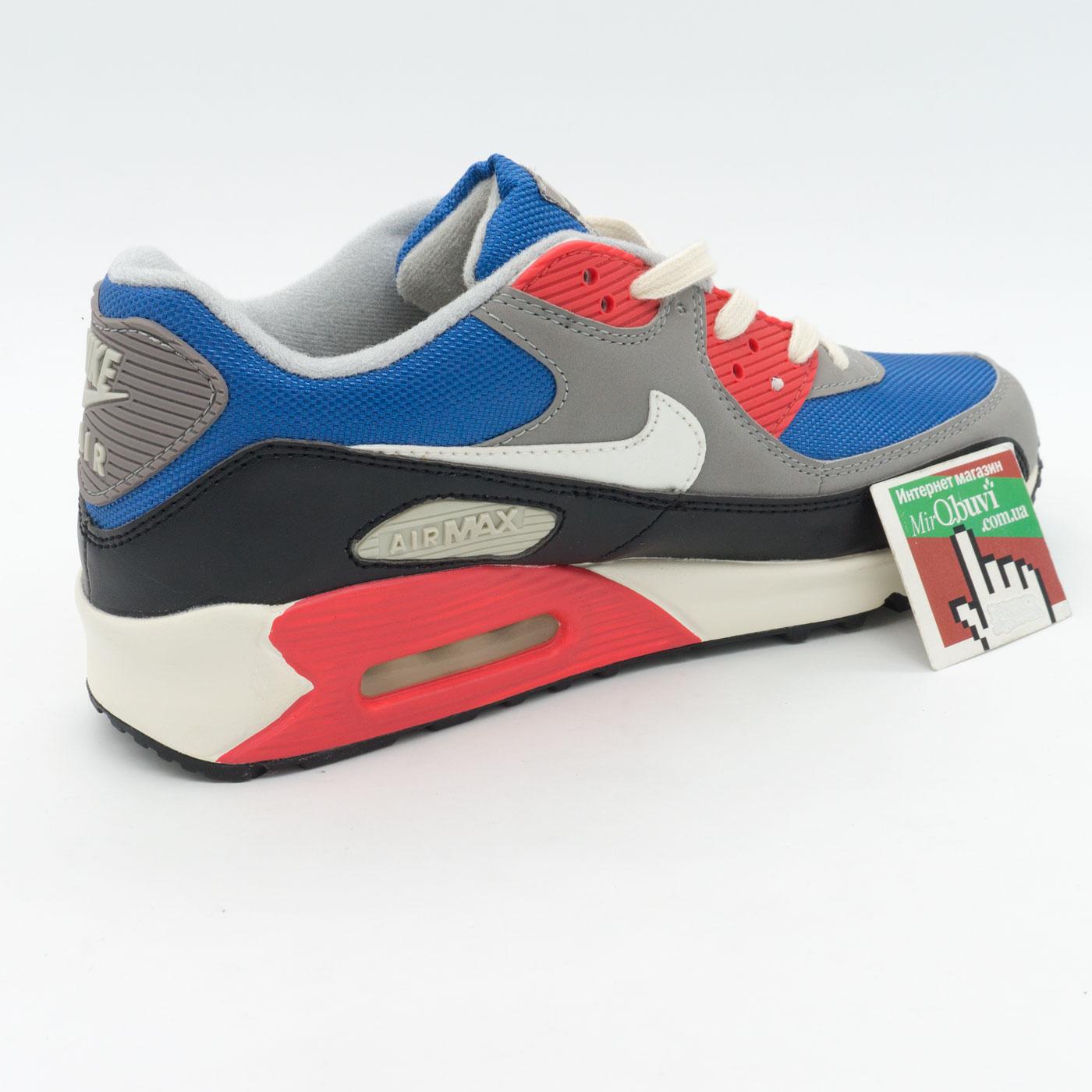фото bottom Мужские кроссовки Nike Air Max 90 синие с красным bottom