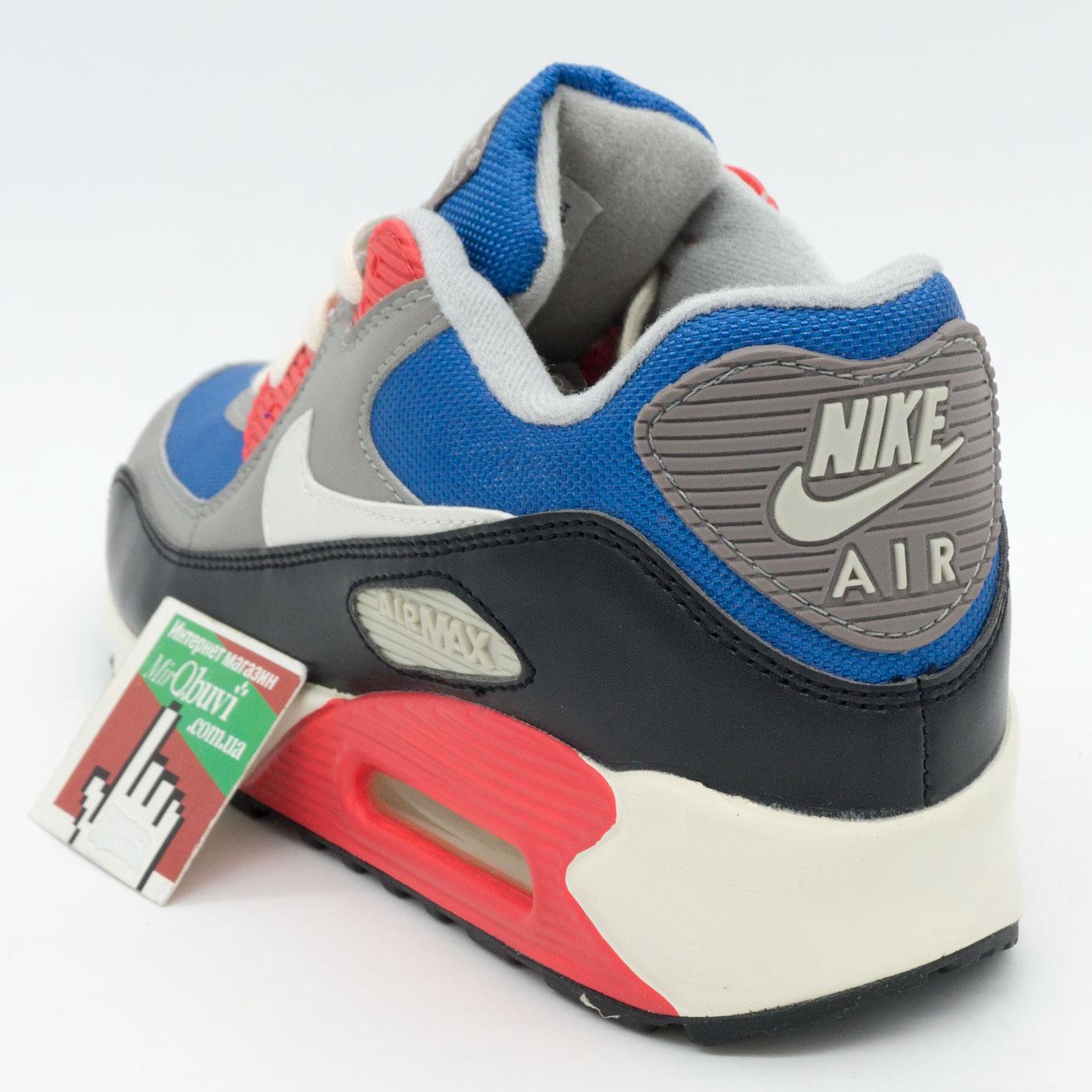 фото front Мужские кроссовки Nike Air Max 90 синие с красным front