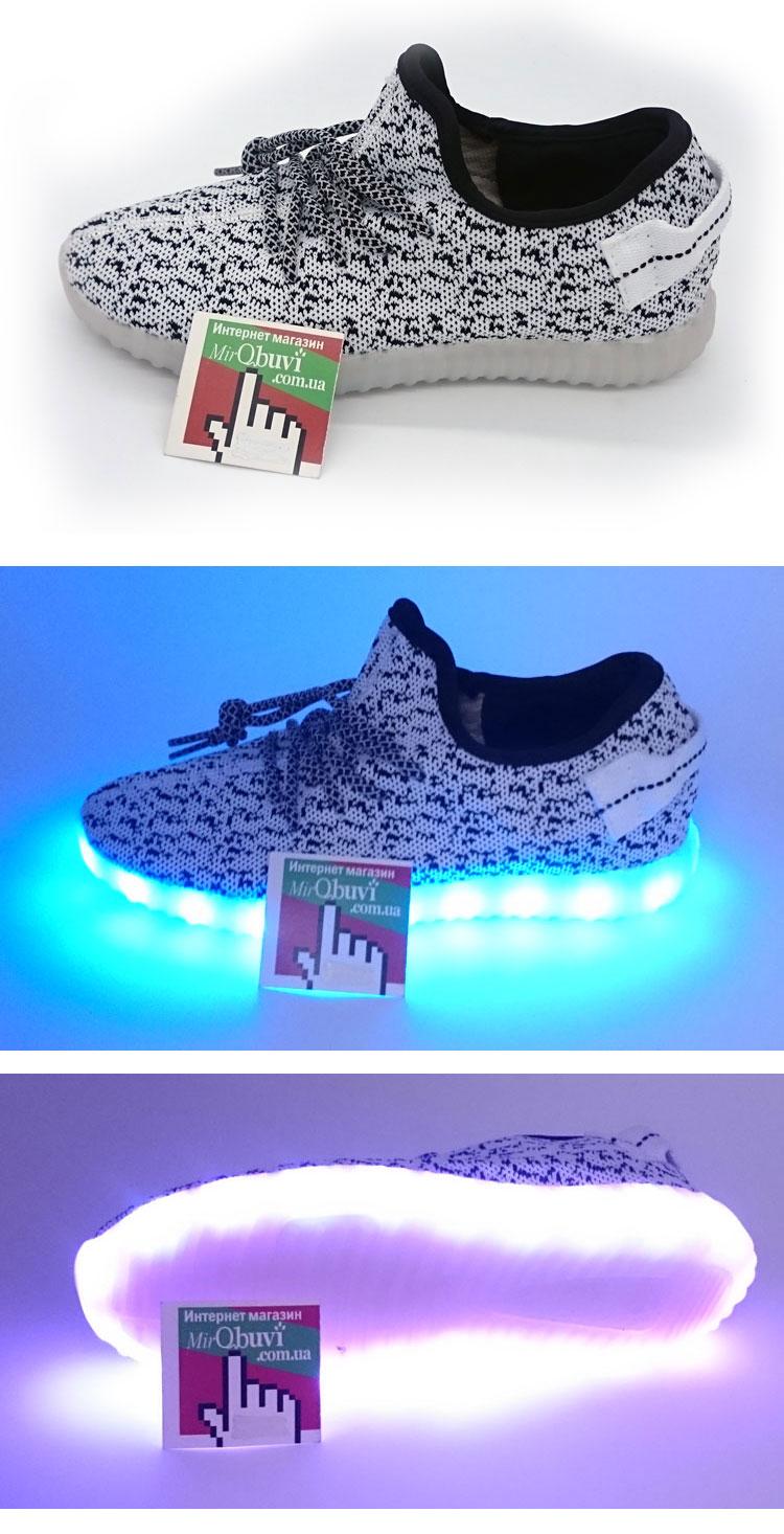 большое фото №5 Светящиеся кроссовки Yeezy белые LED