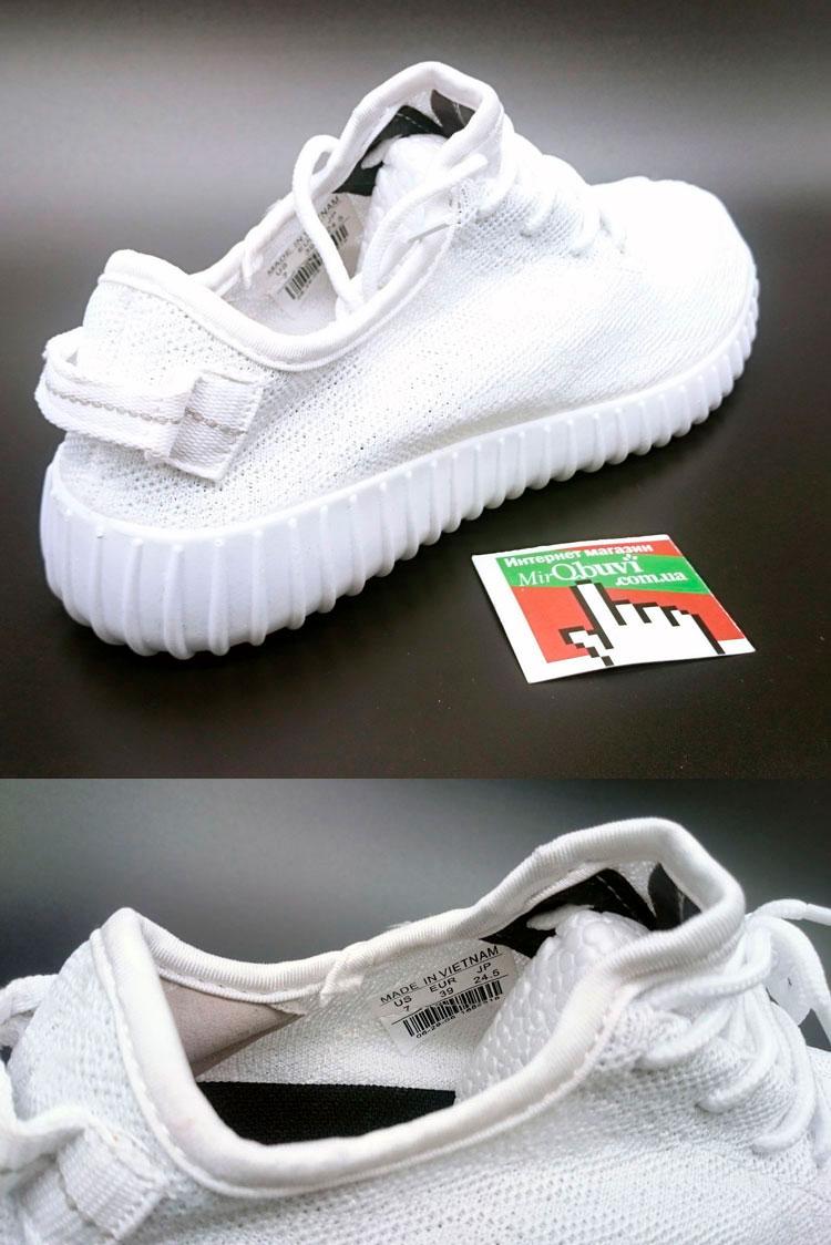 большое фото №5 Женские кроссовки Adidas Kanye West Yeezy 350 полностью белые