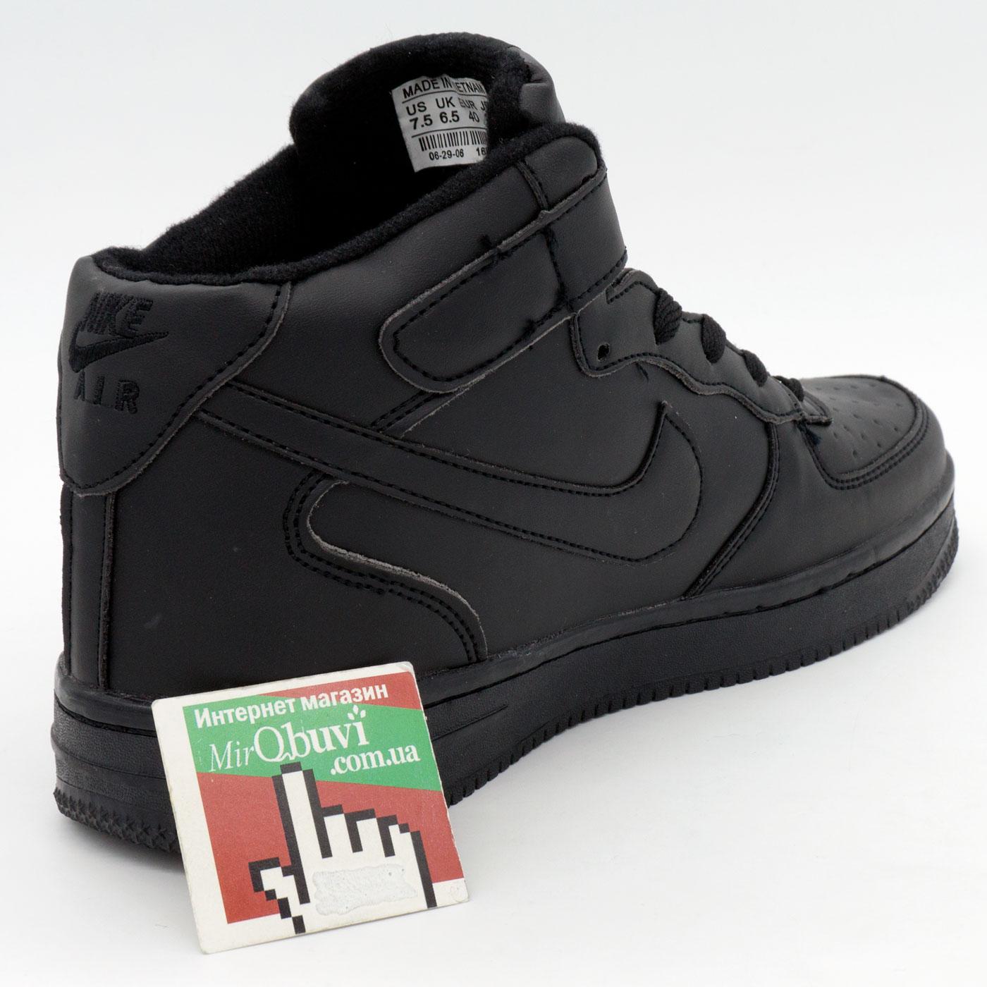 фото back Зимние высокие черные кроссовки Nike Air Force  back