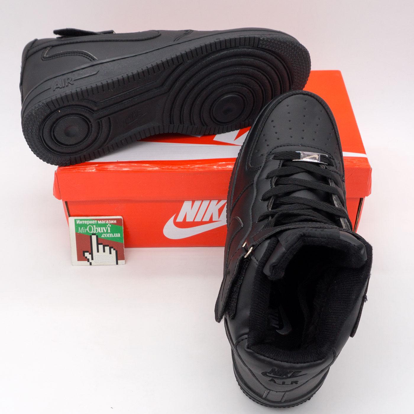 фото bottom Зимние высокие черные кроссовки Nike Air Force  bottom