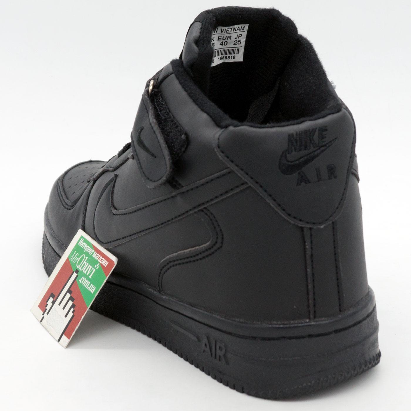 фото front Зимние высокие черные кроссовки Nike Air Force  front