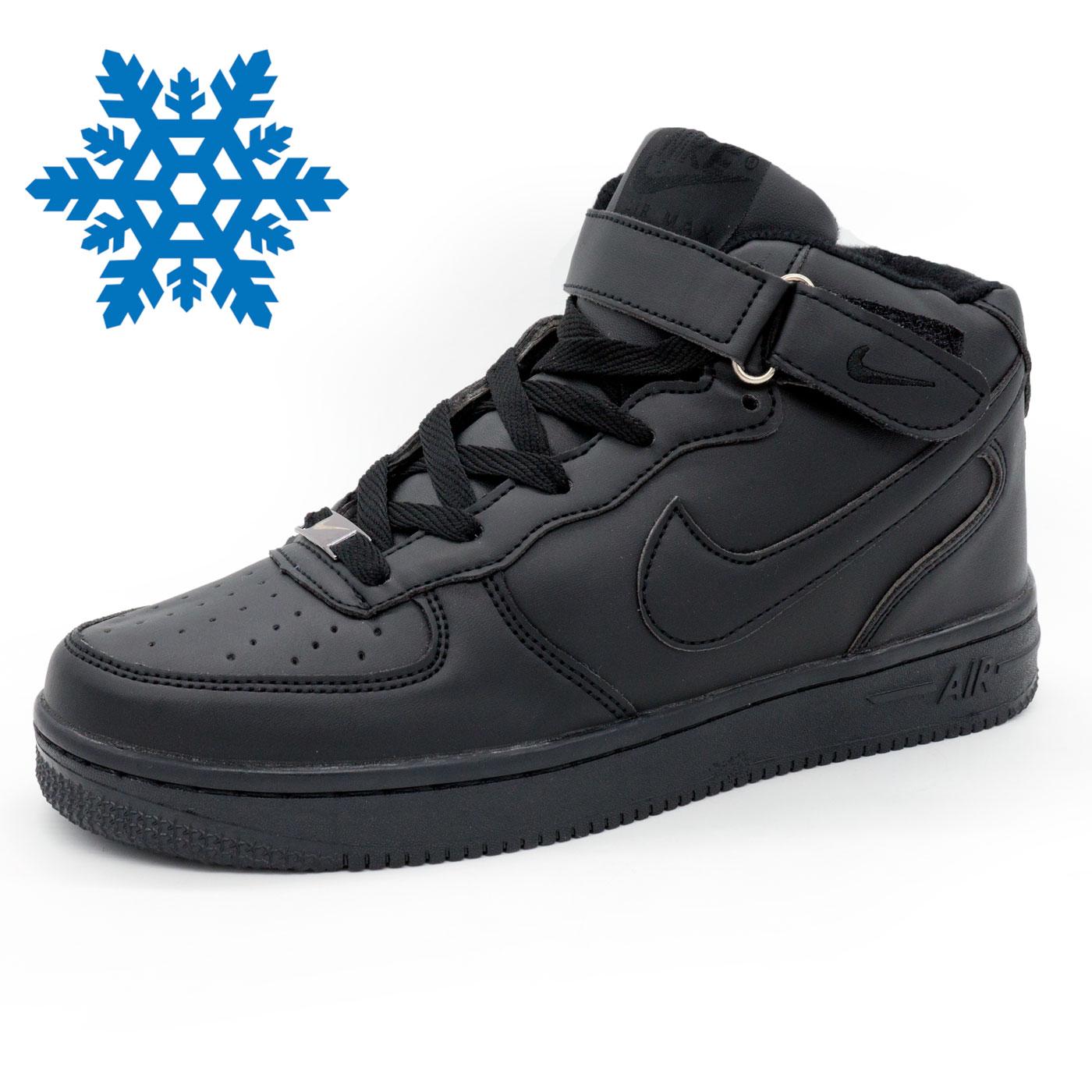фото main Зимние высокие черные кроссовки Nike Air Force  main