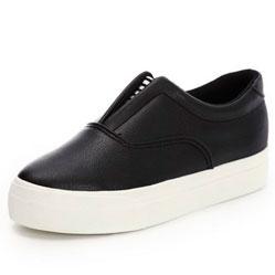 Женские черные низкие кожаные кеды RenBen 8266-1