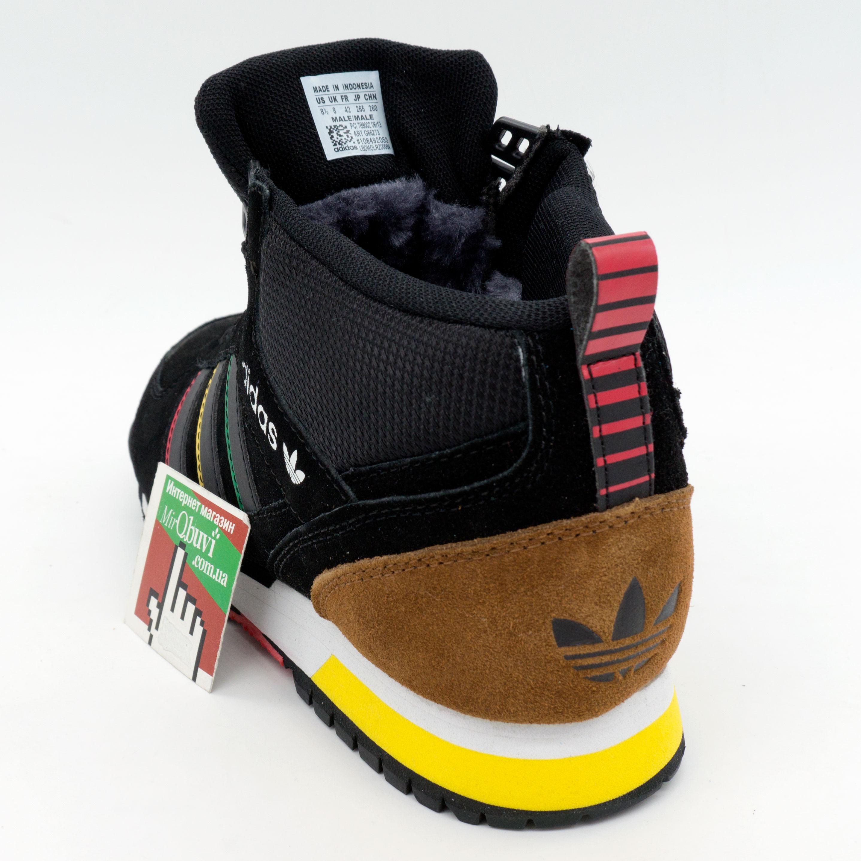 фото front Зимние кроссовки Adidas ZX TR MID черные - Топ качество front