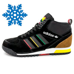Зимние кроссовки Adidas ZX TR MID черные - Топ качество