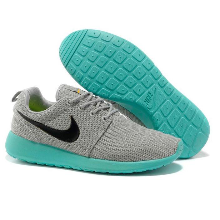 фото front Женские кроссовки Nike Roshe Run серо берюзовые. Топ качество!!! front