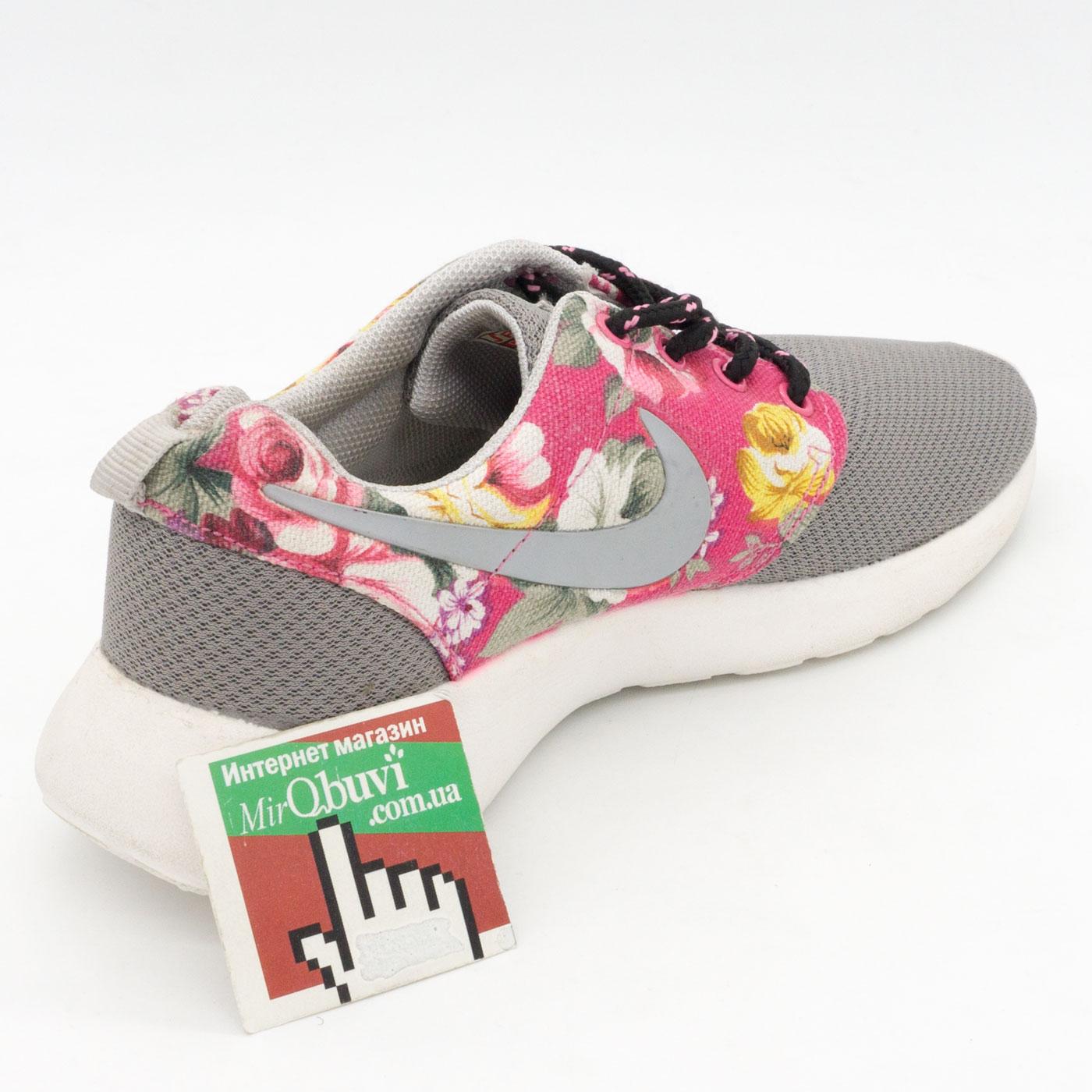 фото back Женские кроссовки Nike Roshe Run серые в цветочек back