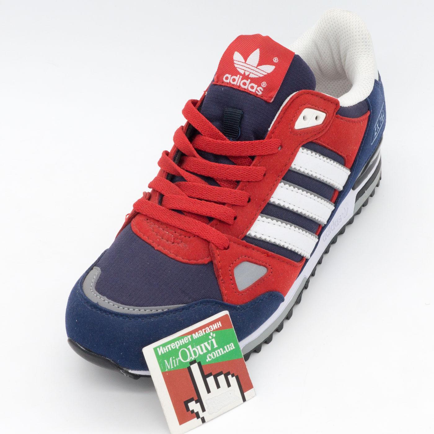 фото front Мужские кроссовки Adidas zx750 синие с красным - Топ качество! front
