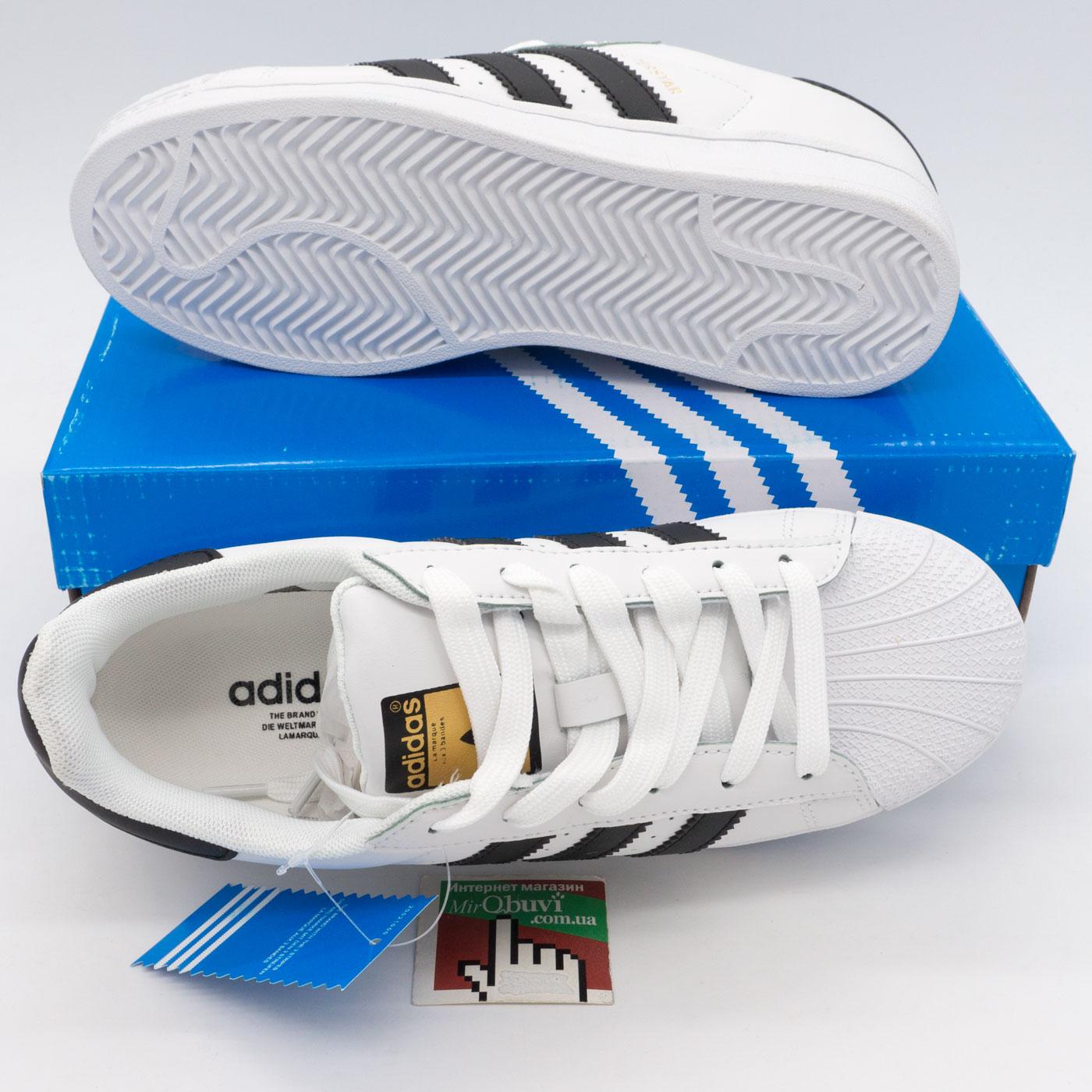 фото front Кроссовки Adidas superstar черные - золото front