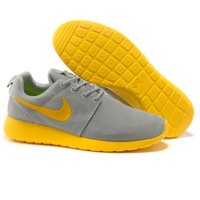 фото front Nike Roshe Run серо желтые front