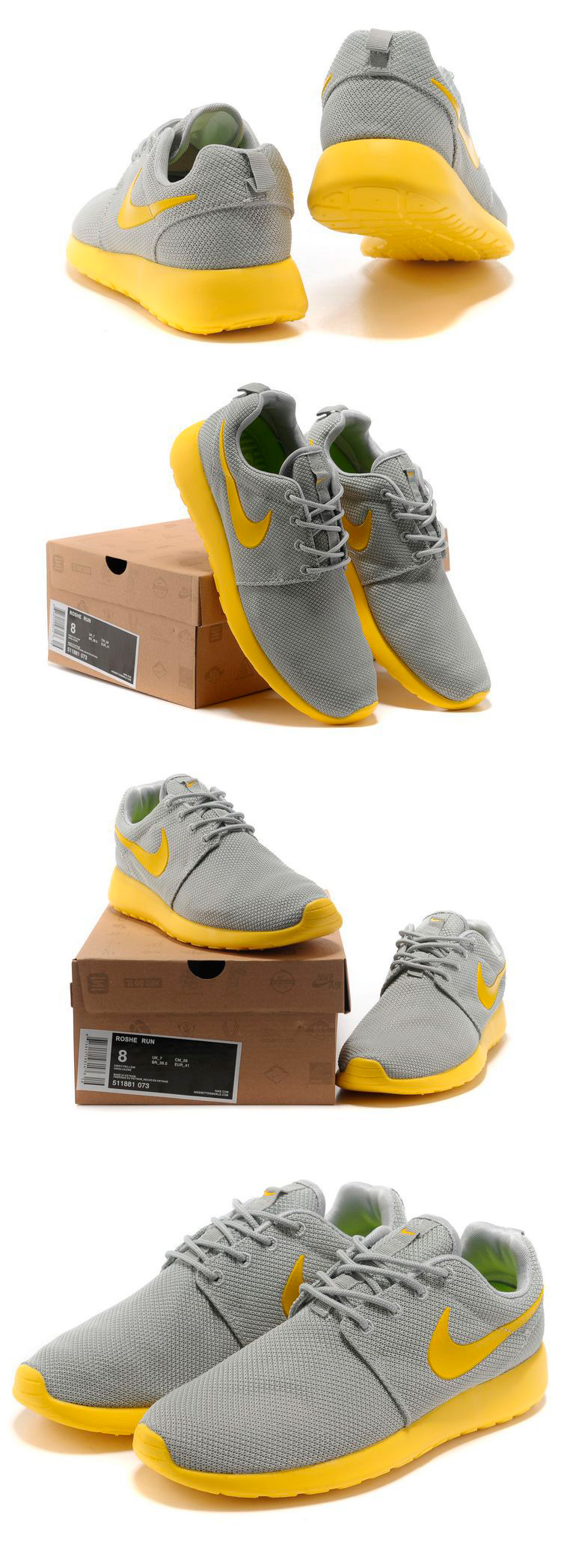 большое фото №6 Nike Roshe Run серо желтые