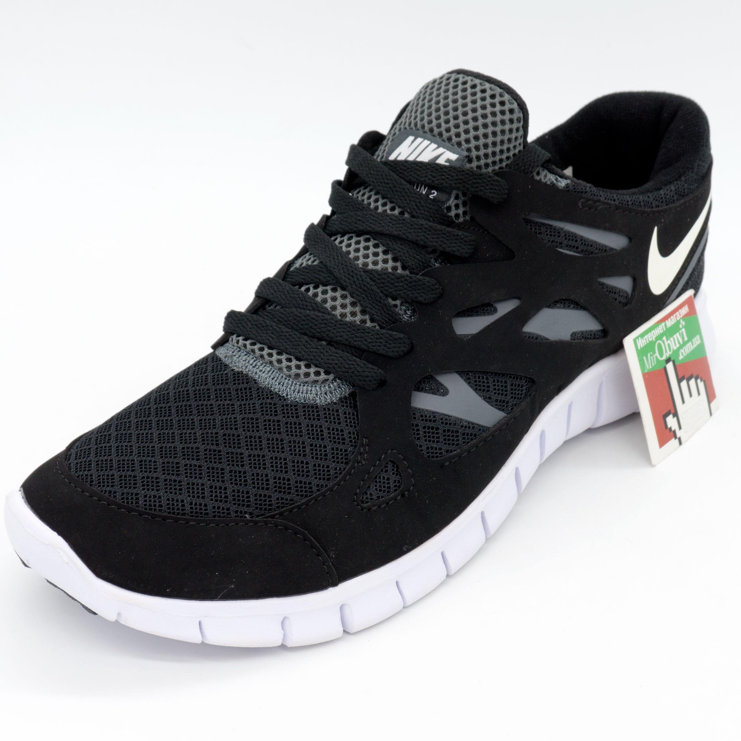 фото front Кроссовки для бега Nike Free Run 2 Найк Фри Ран, черно-белые front