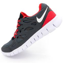 фото Кроссовки для бега Nike Free Run 2 Найк Фри Ран, серо-красные