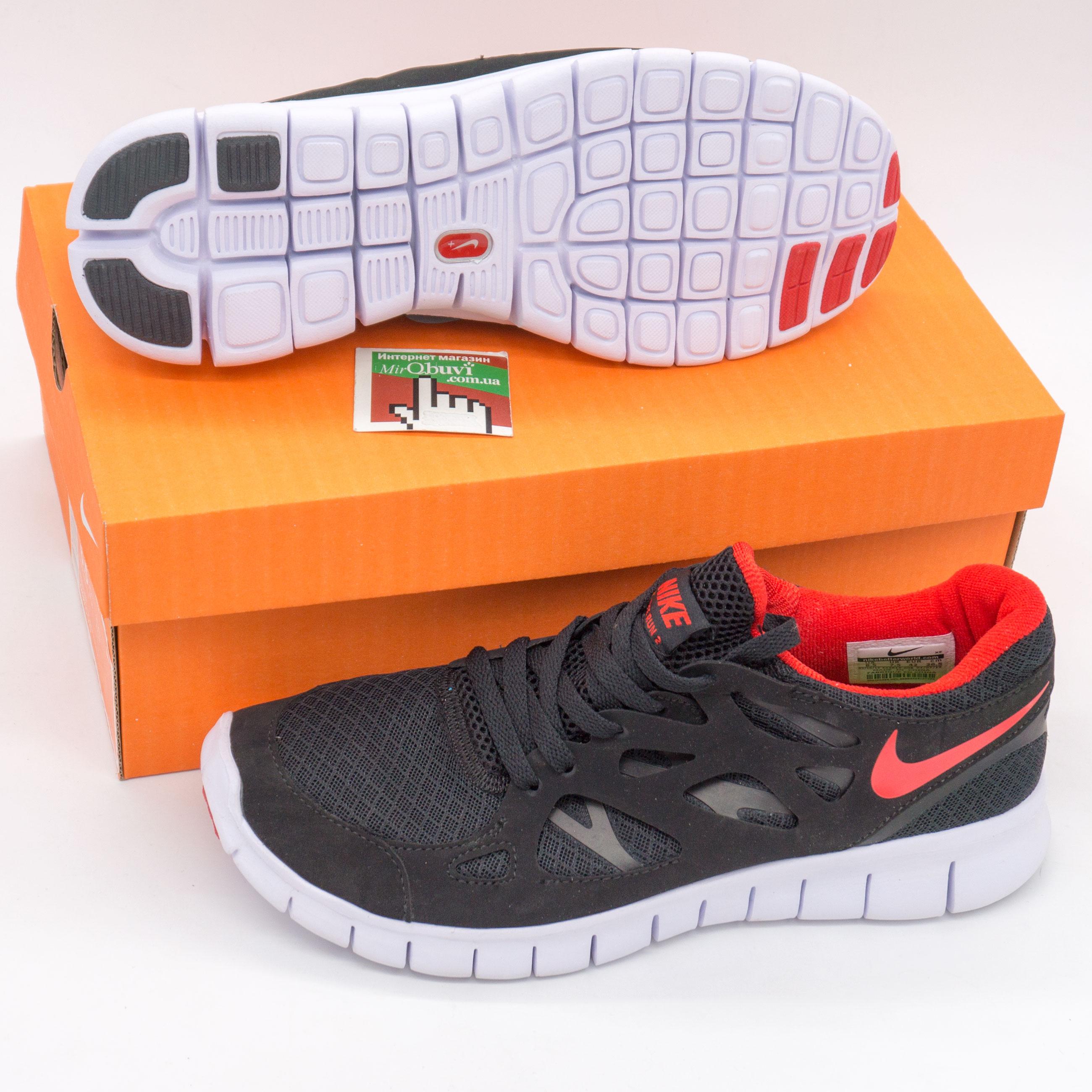 фото bottom Кроссовки для бега Nike Free Run 2 Найк Фри Ран, черные с красным bottom