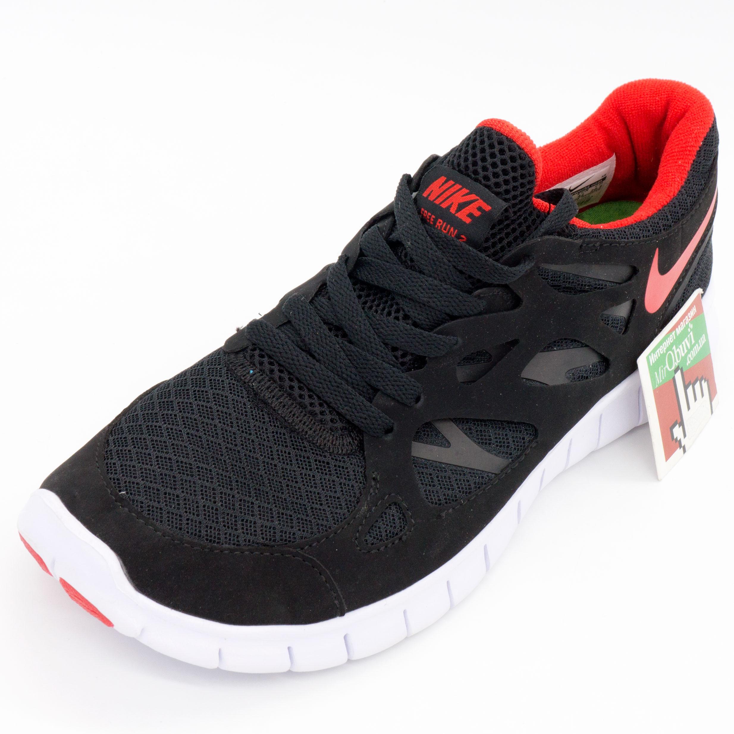 фото front Кроссовки для бега Nike Free Run 2 Найк Фри Ран, черные с красным front