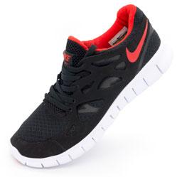 Кроссовки для бега Nike Free Run 2 Найк Фри Ран, черные с красным