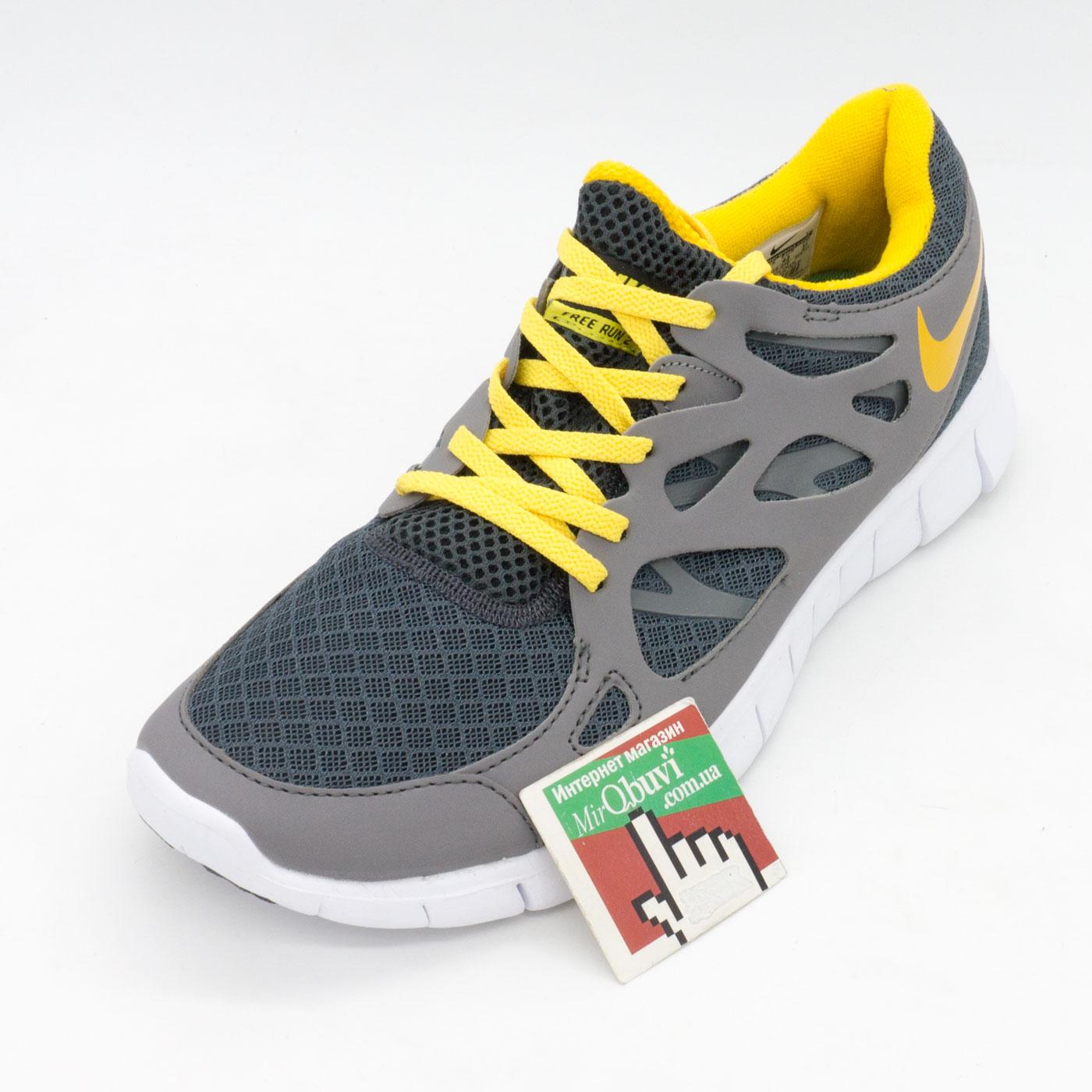 фото front Мужские кроссовки для бега Nike Free Run 2 Найк Фри Ран, серо-желтые front