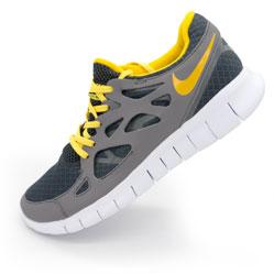 Мужские кроссовки для бега Nike Free Run 2 Найк Фри Ран, серо-желтые