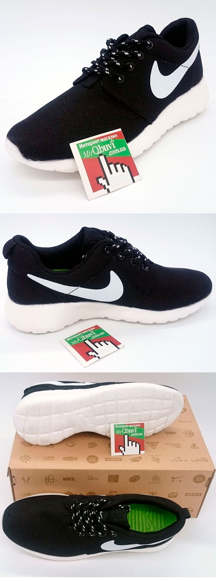 большое фото №5 Женские кроссовки Nike Roshe Run черно белые
