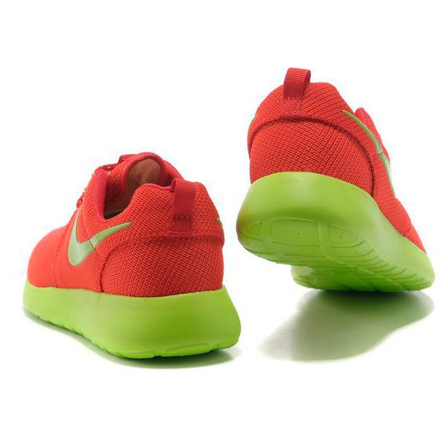 фото back Женские кроссовки Nike Roshe Run красные с зеленым. Топ качество!!! back