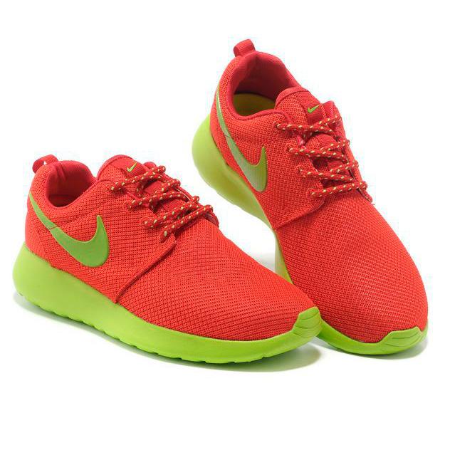фото bottom Женские кроссовки Nike Roshe Run красные с зеленым. Топ качество!!! bottom