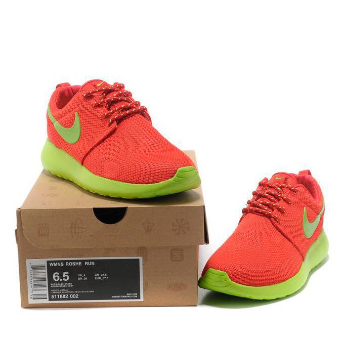 фото front Женские кроссовки Nike Roshe Run красные с зеленым. Топ качество!!! front