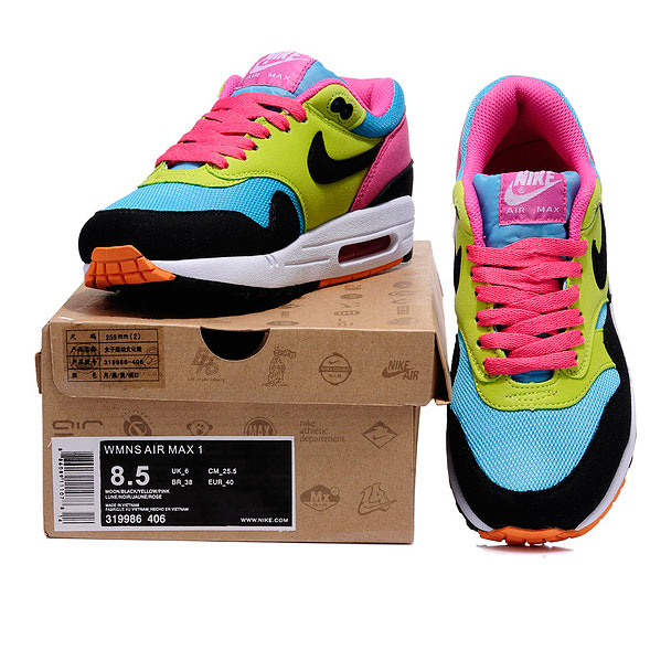 фото front Nike Air Max 87 moon black yellow pink front