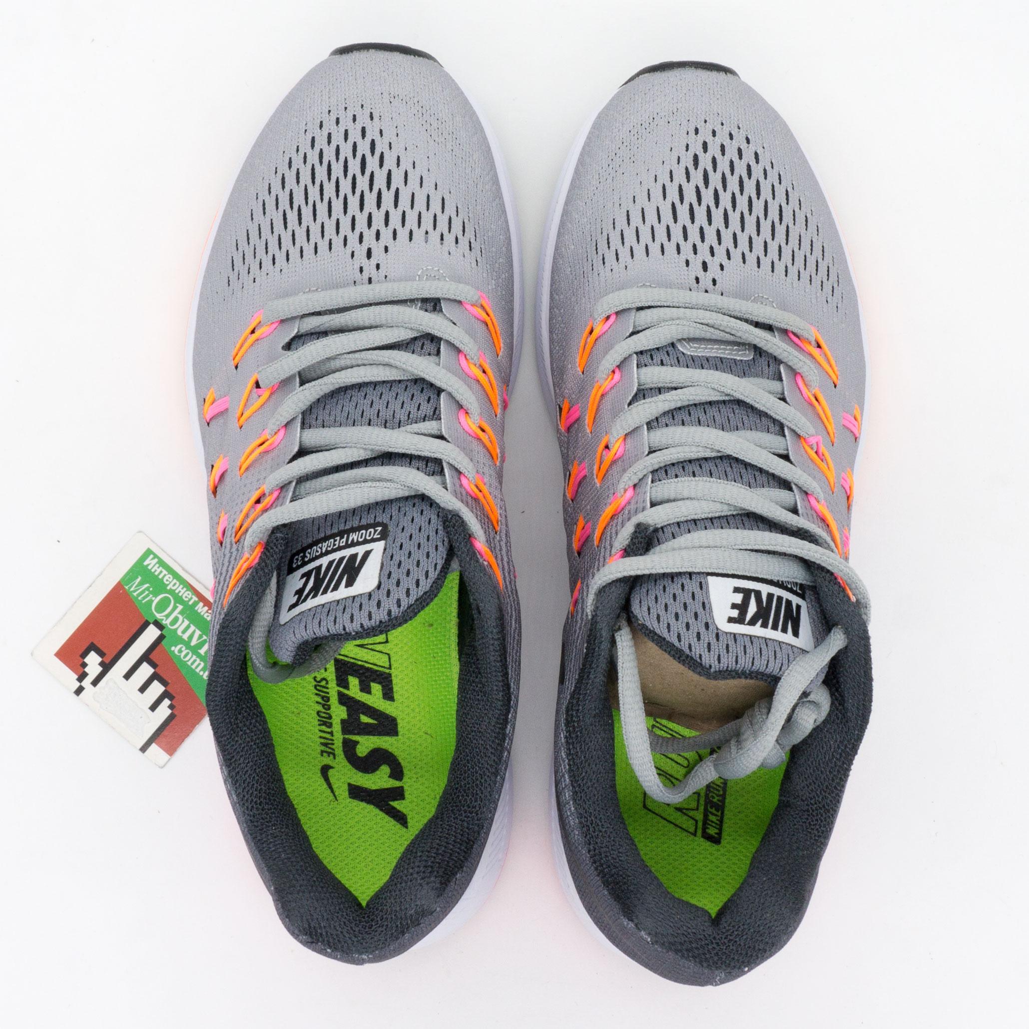 фото bottom Женские кроссовки для бега Nike Zoom Pegasus 33 Серые. Топ качество! bottom