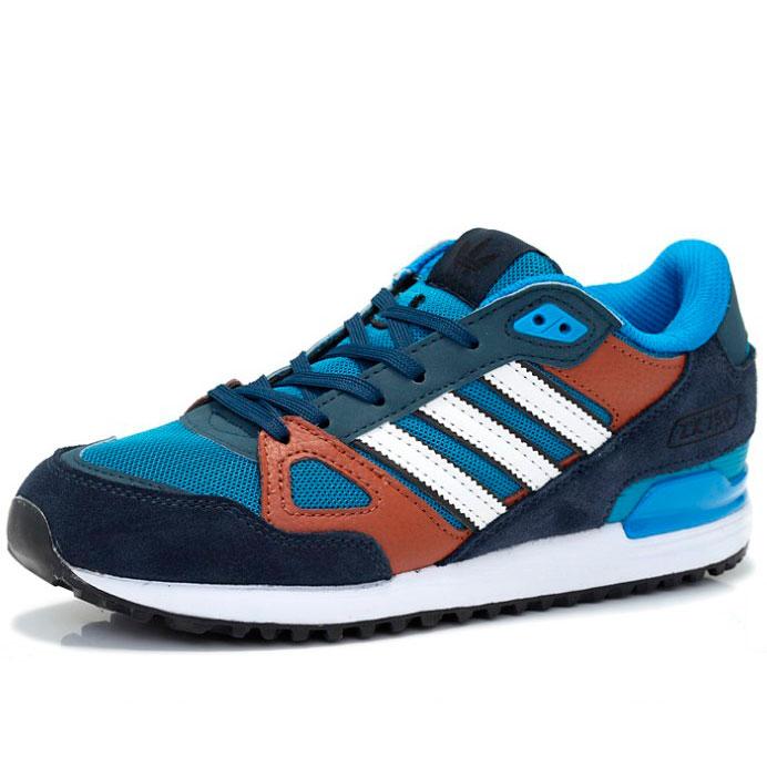 фото back Мужские кроссовки Adidas zx750 синие с коричневым - Топ качество back