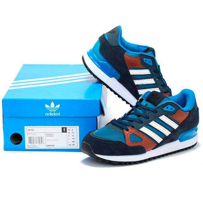 фото bottom Мужские кроссовки Adidas zx750 синие с коричневым - Топ качество bottom
