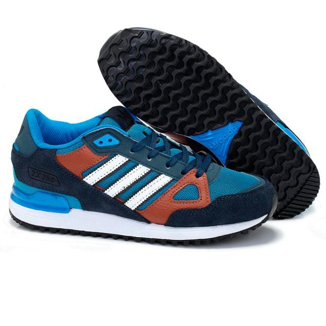 фото front Мужские кроссовки Adidas zx750 синие с коричневым - Топ качество front