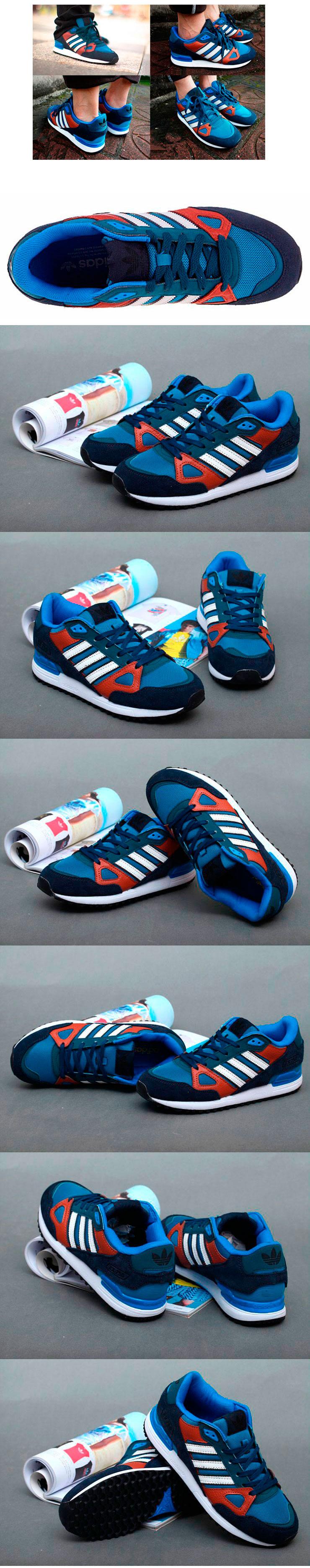 большое фото №6 Мужские кроссовки Adidas zx750 синие с коричневым - Топ качество