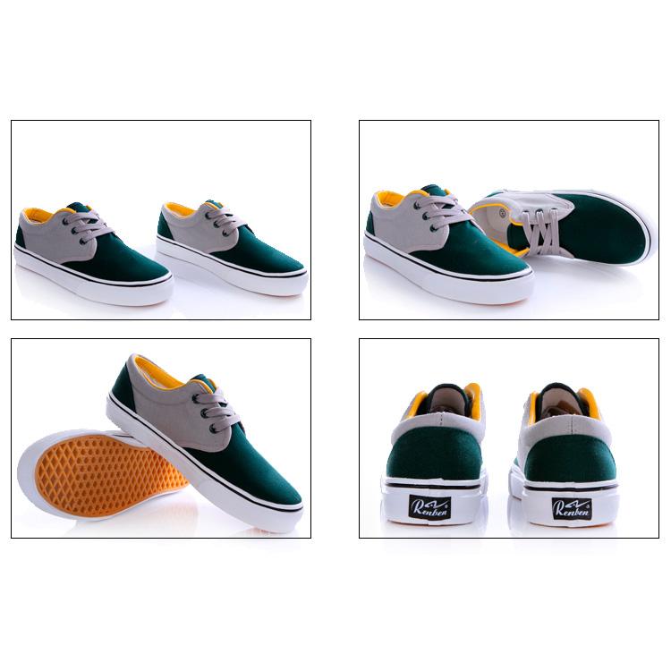фото front Мужские зеленые с серым кеды RenBen RenBen 9658-1 front
