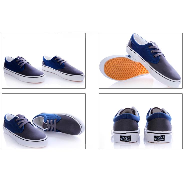 фото front Мужские серые с синим кеды RenBen RenBen 9658-2 front