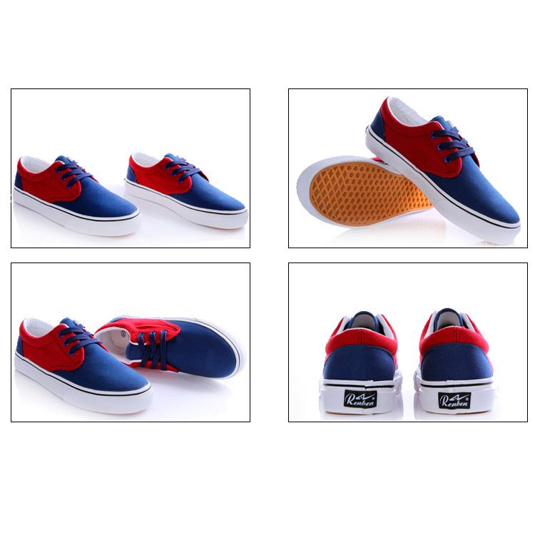 фото back Мужские синие с красным кеды RenBen RenBen 9658-3 back