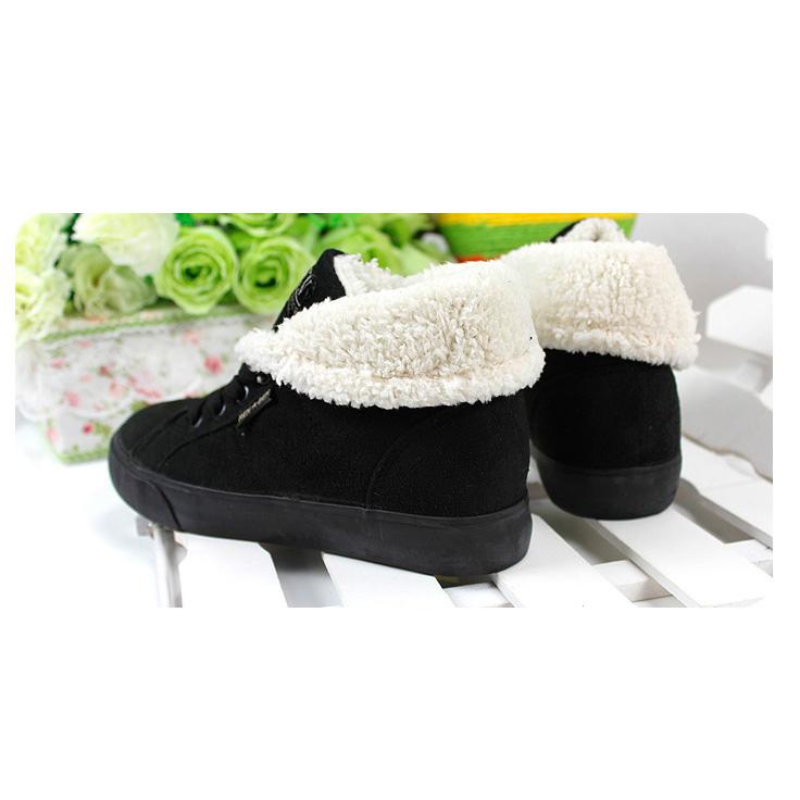 фото bottom Зимние женские черные кеды с мехом RenBen 8953-2 bottom