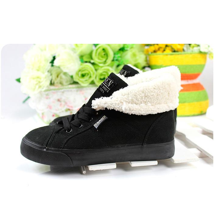 фото front Зимние женские черные кеды с мехом RenBen 8953-2 front