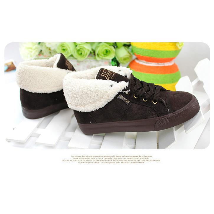 фото bottom Зимние женские коричневые кеды с мехом RenBen 8953-3 bottom