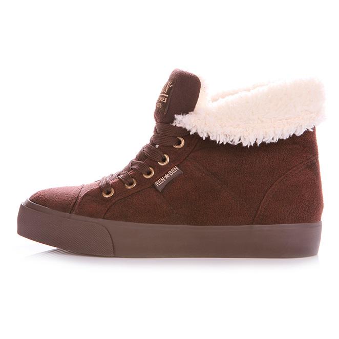 фото main Зимние женские коричневые кеды с мехом RenBen 8953-3 main