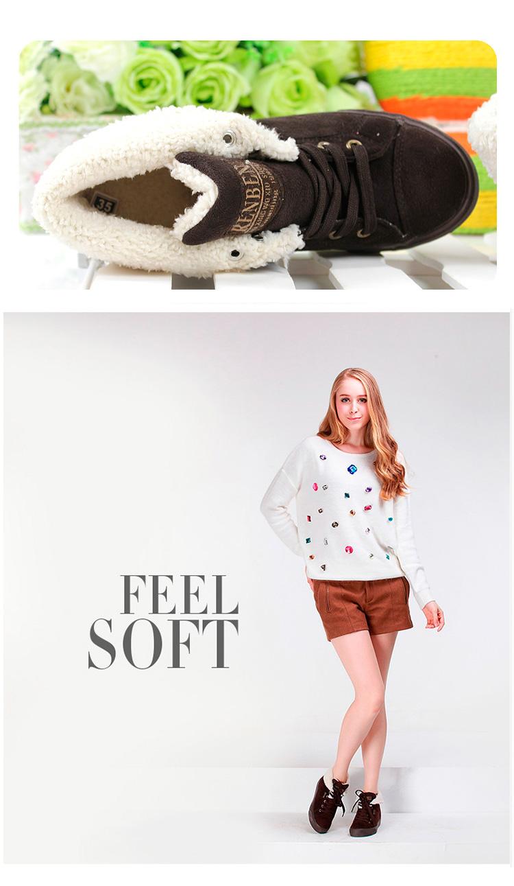большое фото №6 Зимние женские коричневые кеды с мехом RenBen 8953-3
