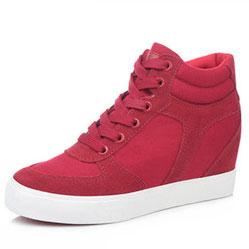 Женские красные замшевые кеды RenBen 8107-1