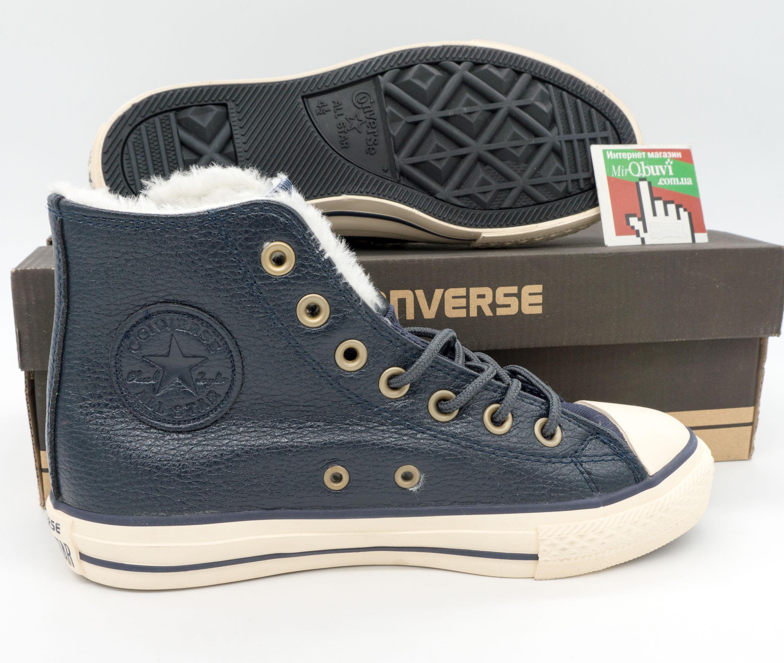фото bottom Зимние Converse высокие синие - Топ качество! bottom